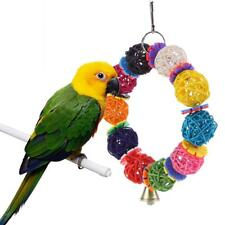 10 Balls Colorful Parrot Toys Vine Bell Climbing Chew Hanging Decor Bird Toys