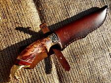 AWESOME STEEL CUSTOM HANDMADE KNIFE MAPLE CUP *HUNTING COBRA* + LEATHER SHEATH