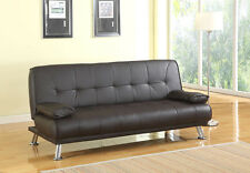3 Seat DESIGNER Sofa Bed Recliner Faux Leather Brown Home Office Living Room