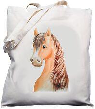 Lindo Diseño De Cabeza De Caballo Crema Natural () de algodón Bolso Shopper Hombro Bolsa//