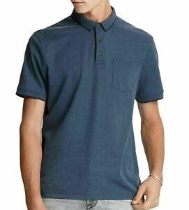 John Varvatos Star USA Cambridge Birdseye Pocket Polo Shirt Mens Small Blue $118
