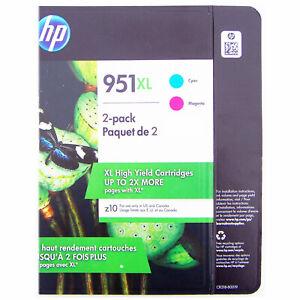 NEW Genuine HP 951XL 2 Pack Cyan & Magenta High Yield Inkjet Cartridges Dec 2021