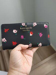 NWT Kate Spade Staci Ditsy Buds Large Slim Bifold Wallet in Black Multi