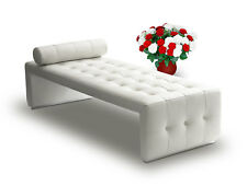 Bauhaus Leather Récamière Daybed Chaiselongue Cube designed. Real leather White