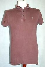 Mens All Saints Bamford polo T Shirt in Maroon Red Size small. faded style