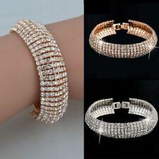 Charm Women Girl Lady Crystal Rhinestone Cuff Bracelet Bangle Wedding Jewellery