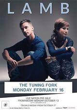 LAMB 2014 NEW ZEALAND CONCERT TOUR POSTER - U.K. Electronic Music Duo