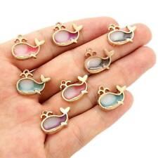 10Pcs Gold Enamel Dolphin Alloy Charms Pendants DIY Earrings Jewelry Findings