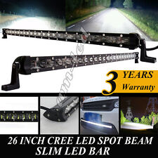 Slim CREE LED Light Bar 26''Inch 120W Spot Work Offroad for Boat 4WD Truck Lamp