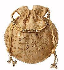 Designer Silk Embroidered Potli Bag Pearl Handle Purse Stylish Women's Handbag G