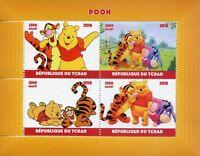 Chad Disney Stamps 2018 MNH Winnie the Pooh Bear Tigger Eeyore Cartoons 4v M/S