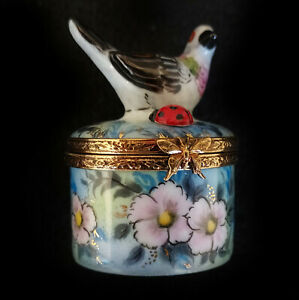 Incredible Limoges Box Bird on Round with Flowers Lot # 1235