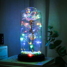 Enchanted Forever Rose Flower In Glass LED Light Valentine's Day Xmas Decoration