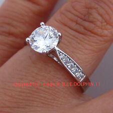 Real Genuine Solid 9ct White Gold Engagement Wedding Ring Simulated Diamonds