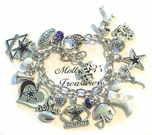 "Dallas Cowboys Inspired Handmade Chain Link Football Charm Bracelet, 6 3/4"" Adj"