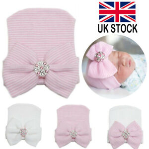 Infant Baby Girl Pink White Soft Hat with Bow Cap Newborn Beanie Striped Diamond