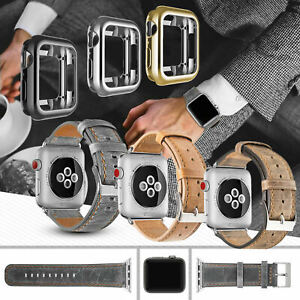 Genuine Leather Replacement Strap Bracelet Band for Apple Watch Series 4 3 2 1