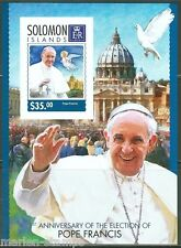 SOLOMON ISLANDS 2014 1st ELECTION  ANNIVERSARY OF POPE FRANCIS S/S IMPRF MINT NH
