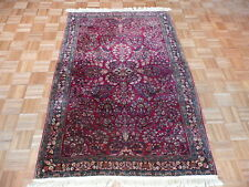 4 X 6 Hand Knotted Red Antique Fine Sarouk Oriental Persian Rug G1516