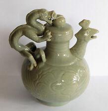 Céladon Encens Brûleur Koro Paon Dragon Chinois Oriental Céramique 14 cm