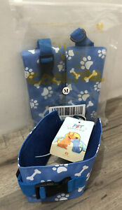 3 Pack Dog Cooling Bandana Chill Out Collar •Size M  •Blue w/Paws & Bones