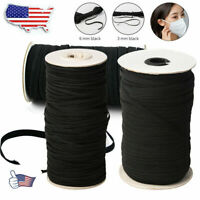 125 Yards Length DIY Braided Elastic Band Cord Knit Band Sewing 1/8inch Black DA