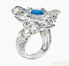 Women Aquamarine Mermaid 925 Sterling Silver Filled Birthstone Ring Size 7 R119