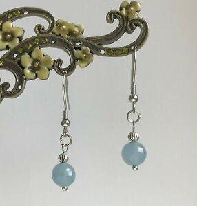 Faceted Aquamarine Droplet Hypoallergenic 316L Steel Dangly Earrings in Gift Bag