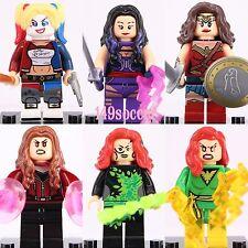 6Pcs Harley Quinn Wonder Woman Poison Ivy Scarlet Witch Phoenix PsyLocke Lego