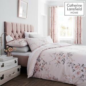 Catherine Lansfield Canterbury Easy Care Duvet Quilt Cover Set Bedding Blush