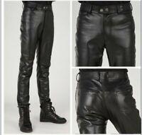 Men's Slim fit Leather pants Trousers Black Skinny long Pencil Motorcycle Casual