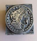 Antique Letterpress Printers Block Liberty Silver Dollar 1883 Vintage