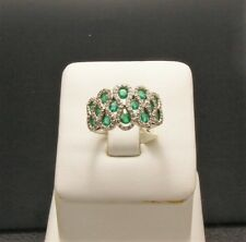 14 Kt White Gold Emerald and Diamond Fashion Ring