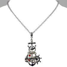 Metal Anchor, sailboat, boat key multi-charm long necklace