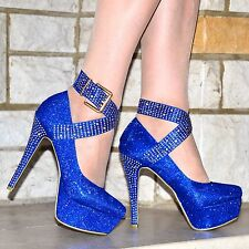LADIES PLATFORM HIGH HEELS SPARKLY DIAMANTE STUD ANKLE STRAPS PUMPS SHOES 3-10