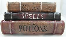 Raz Imports STACK of SPELL BOOKS Halloween TRINKET BOX Curses Potions H3610252
