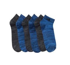 Adidas Men's Navy & Black Heather Superlite Low Cut 6 Pack Socks