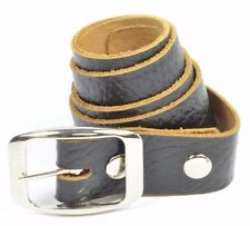 Guy Q SLICK  Mens Adjustable 100% Leather Belt Size Small Black NEW