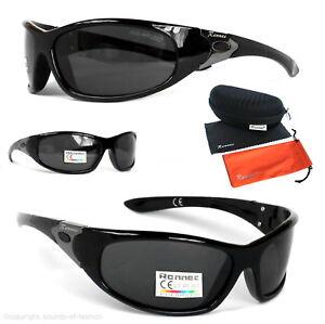 Rennec Sport Sonnenbrille Polarisiert Schwarz Verspiegelt Biker Herren P73 Box