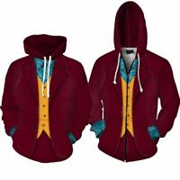 Joker Cosplay Arthur Fleck Zip Hoodie Costume Pullover Coat Jacket SweaterShirt