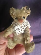 "RARE ANTIQUE C.1910 Steiff 3.5"" MINIATURE OFF WHITE MOHAIR Bear OLD FF BUTTON"