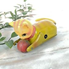 """Vintage 1900's Yellow Striped Cat w/ Ball Tin Wind Up Toy 5"""" (Good)"""