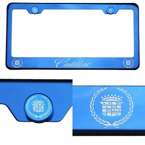 T304 Blue Chrome License Plate Frame StainlessSteel Silver Cadillac Laser Etched