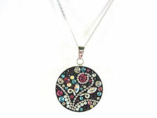 Genuine Multi-colour Crystal/Faux Pearl 925 Sterling Silver Pendant & Chain