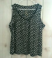 White Stag Womens Plus Size 3X Polkadot blouse tank top shirt scoop neck b16