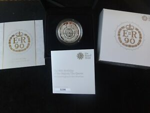 2016 SILVER PROOF £5 COIN BOX COA + OUTER COVER QUEEN 90th BIRTHDAY ROYAL MINT