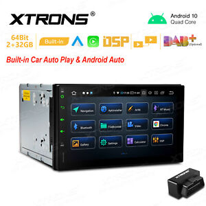 """OBD2+ 7"""" Android 10 2+32GB Double 2 DIN GPS Stereo Radio Car Auto Play Wifi DSP"""