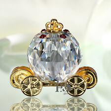 Crystal Figurine Pumpkin Carriage Paperweight Kid's Xmas Gift Wedding Decor