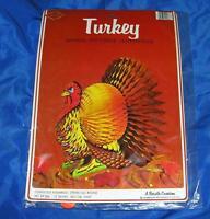 1979 VTG UNOPENED BEISTLE HONEYCOMB TISSUE PAPER N CARDBOARD THANKSGIVING TURKEY