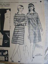 1271(1164) ANCIEN PATRON FEMMES D'AUJOURD'HUI ROBE COL ROND/CRAVATE T40/48 1967